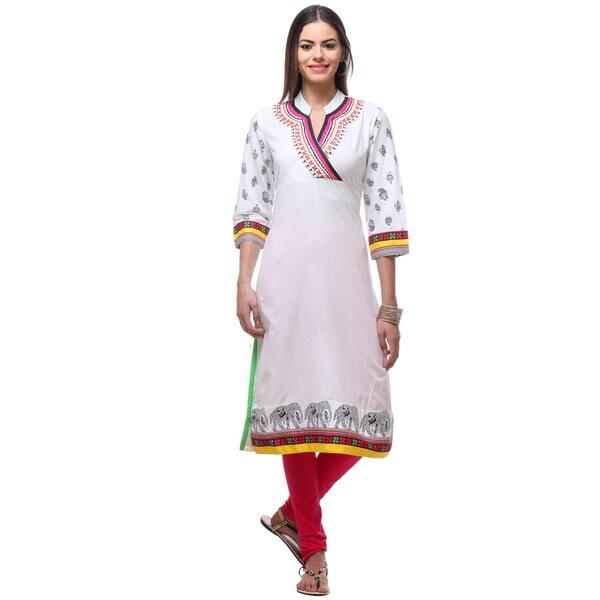 dc1cff15093a Handmade In-Sattva Women  x27 s Indian White Elegant Elephant Print Kurta  Tunic