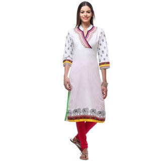 In-Sattva Women's Indian White Elegant Elephant Print Kurta Tunic