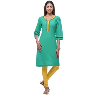 In-sattva Women's Teal Kurta Cotton Indian Tunic with Contrast Trim