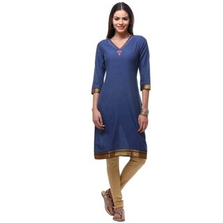 In-Sattva Women's Solid Royal Blue Cotton Indian Kurta Tunic with Rolled-up Sleeves