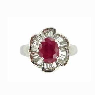 Kabella 18k White Gold 1 3/4ct TGW Ruby Diamond Ring (G-H, SI1-SI2)
