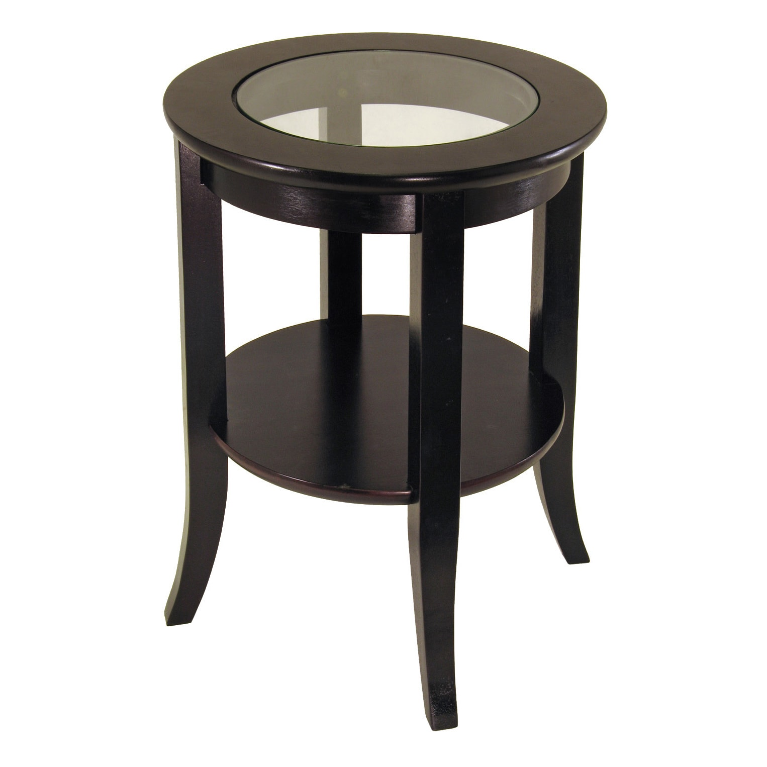 Winsome Genoa Glass Inset Round End Table with Flared Legs