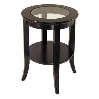 Clay Alder Home Brownville Glass Inset Round End Table with Flared Legs
