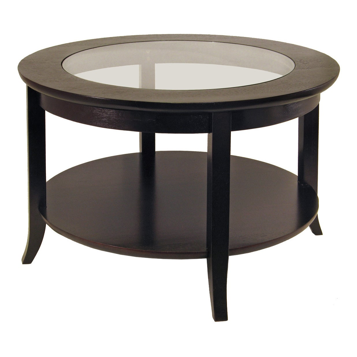 Winsome Genoa Wood/Glass Inset Coffee Table With Flared L...