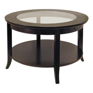 Winsome Genoa Wood/Glass Inset Coffee Table With Flared Legs