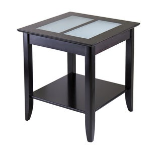 Winsome Syrah Home Living Room Espresso Wood End Table with Frosted Glass