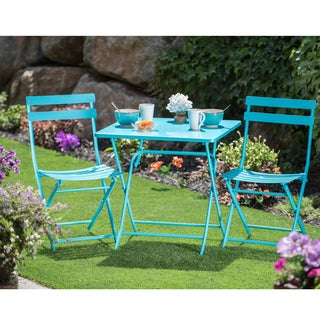 Corvus Rio Outdoor 3-piece Square Blue Folding Bistro Set