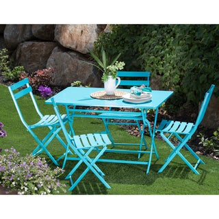 Corvus Cielo Blue Steel Rectangular 5-piece Patio Folding Bistro Set