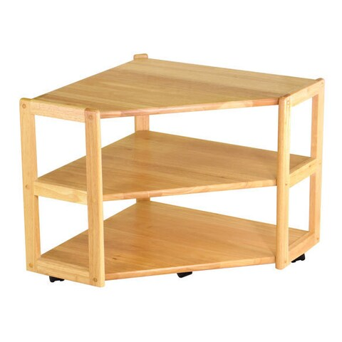 Winsome Derby Natural Finish Wooden Corner TV Stand