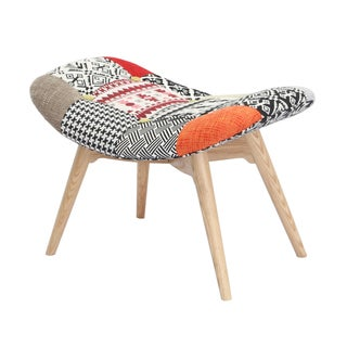 Kelsey Button Patchwork Upholstered Accent Stool