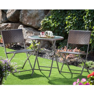 Corvus Bohman Outdoor 3-piece Wicker Folding Bistro Set