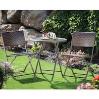 Corvus Bohman Outdoor 3-piece Wicker Folding Bistro Set