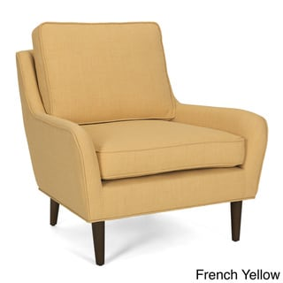 Arcadia Mid-century Upholstered Rubberwood Arm Chair