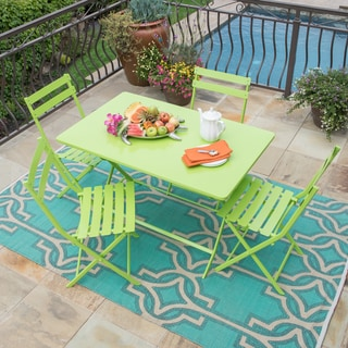Corvus Cielo Green Steel Rectangular 5-piece Patio Folding Bistro Set