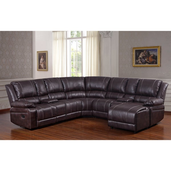 Donnie brown faux leather reclining sectional sofa with for Eurodesign brown leather 5 piece sectional sofa set
