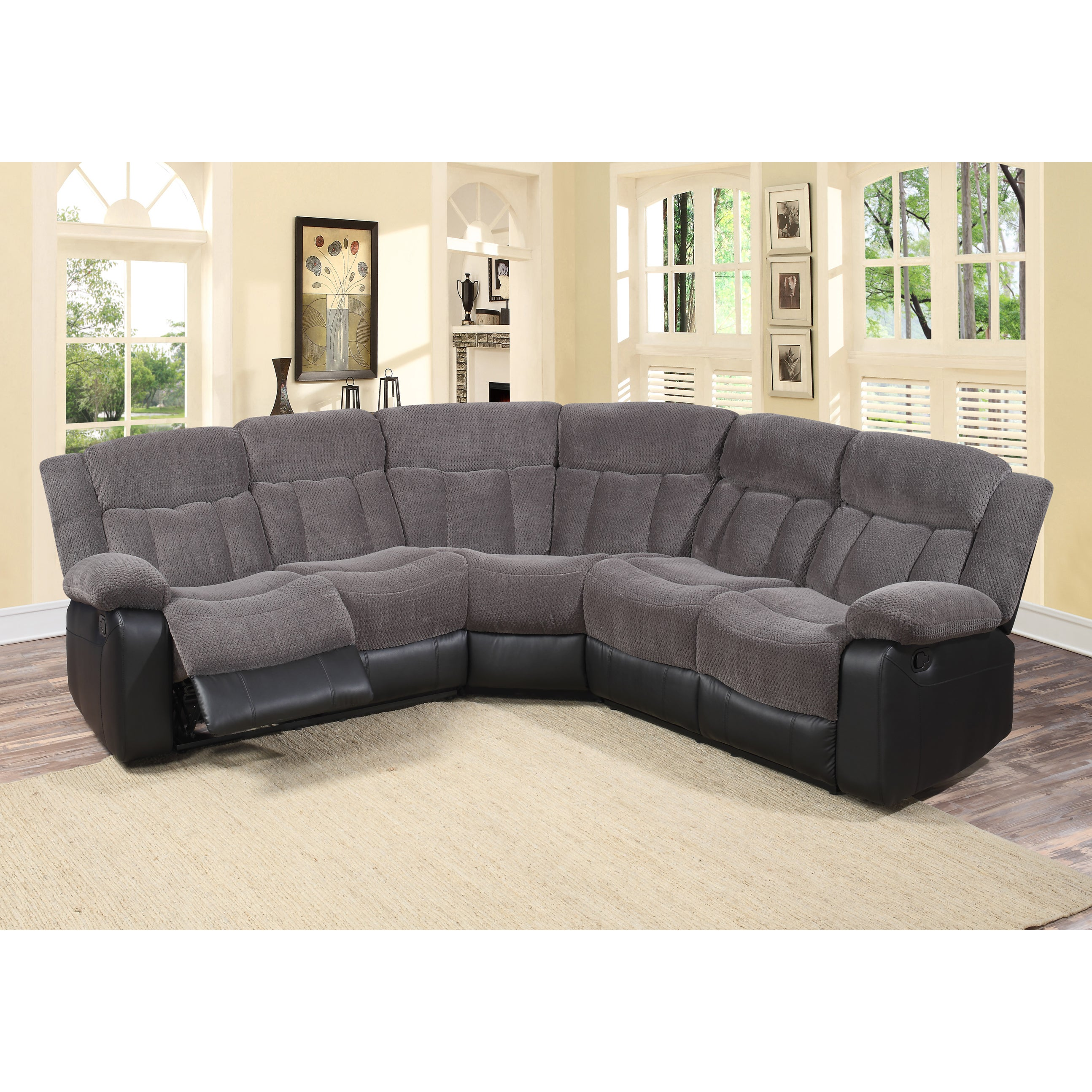 Sensational Tonnie 3 Piece Grey Fabric And Faux Leather Reclining Sectional Living Room Sofa Pdpeps Interior Chair Design Pdpepsorg