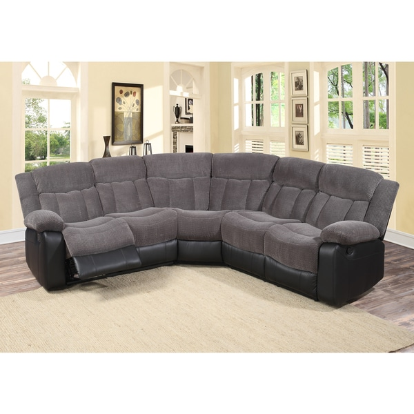 Shop Tonnie 3 Piece Grey Fabric And Faux Leather Reclining Sectional