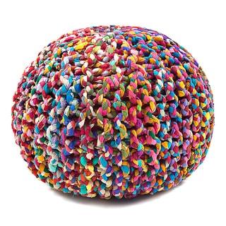 Jani Sula Multicolor Cotton Round Pouf Ottoman