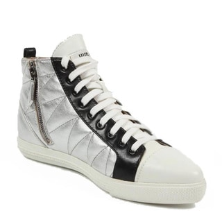Miu Miu Women's 5T9039 3O76 F0QAW Silver Leather Sneakers