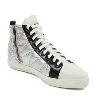Miu Miu Women's 5T9039 3O76 F0QAW Silver Leather Sneakers