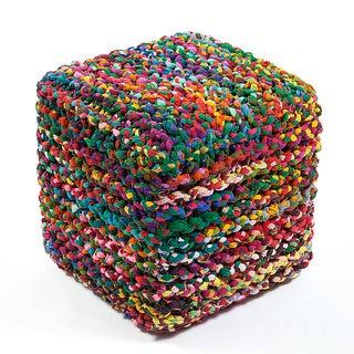 Jani Sula Multicolor Cotton Square Cube Ottoman