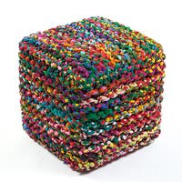 Jani Sula Multicolor Cotton Square Cube Ottoman