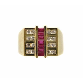 Kabella Luxe Men's 18k Yellow Gold Ruby and Diamond Accent Ring