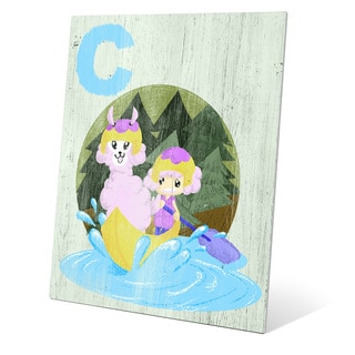 Art and Photo Decor 'C is for a Girl and Her Llama in a Canoe' Metal Graphic Wall Art