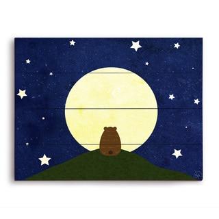 'Star Gazing' Bear Graphic Wood Wall Art