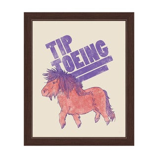 'Tip Toeing Pony' Graphic Wall Art With Espresso Frame