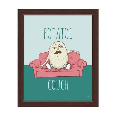'Potatoe Couch' Graphic Espresso Frame Wall Art