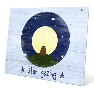 'Star Gazing Bear' Blue Metal Graphic Wall Art