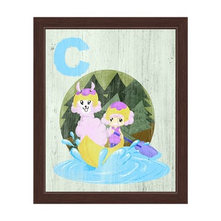 'C is for a Girl and Her Llama in a Canoe' Espresso Frame Graphic Wall Art