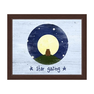 Art and Photo Decor 'Stargazing Bear' Blue Graphic Wall Art with Espresso Frame