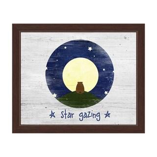 'Star Gazing Bear' Espresso-framed White Graphic Wall Art Print