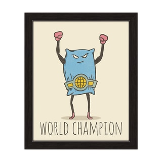 'Pillow Fighting World Champion' Black-framed Graphic Wall Art