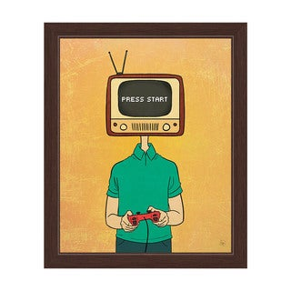 'Press Start Television Head Gamer' Espresso Frame Graphic Wall Art