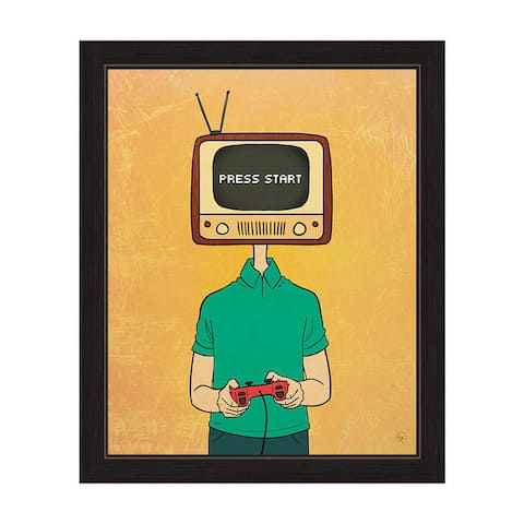 'Press Start' Television Head Gamer Black-framed Graphic Wall Art