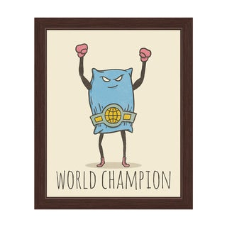 'Pillow Fighting World Champion' Graphic Wall Art With Espresso Frame