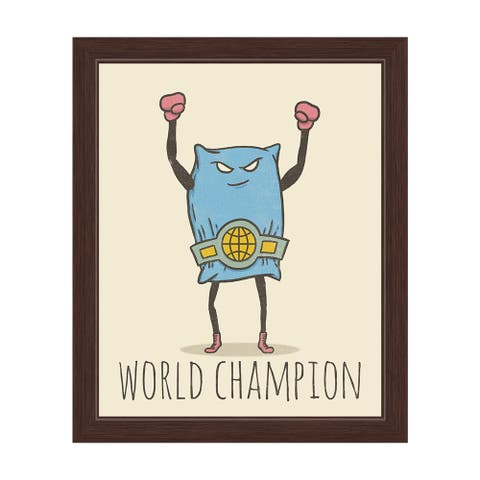 Pillow Fighting World Champion' Graphic Wall Art with Espresso Frame