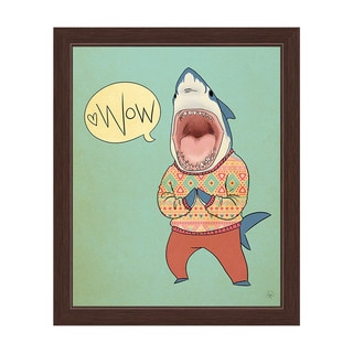 'Sharks in Sweaters Say Wow' Espresso Framed Graphic Wall Art