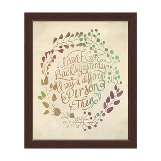 'I Can't Go Back to Yesterday' Multicolored Graphic Wall Art with Espresso Frame