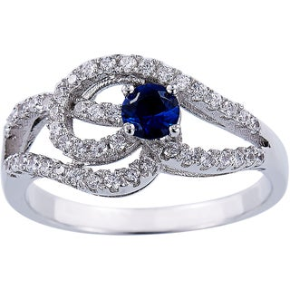 Sterling Silver Blue Cubic Zirconia with Micro Pave Open Work Ring
