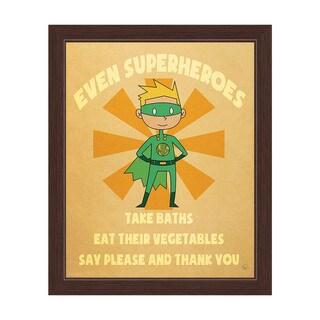 Boy's 'Even Superheroes' Graphic Wall Art Espresso Frame Print