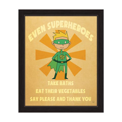Even Superheroes' Boys' Graphic Wall Art Print with Black Frame