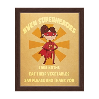 'Even Superheroes' Girl's Graphic Wall Art with Espresso Frame