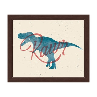 'Red Rawr on Blue T-Rex' Espresso Frame Graphic Wall Art