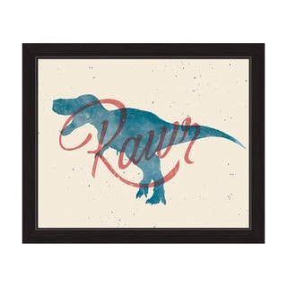 Art and Photo Deco 'Red Rawr on Blue T-rex' Graphic Wall Art Print with Black Frame