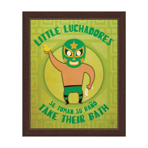 'Little Luchadores Take Their Bath' Graphic Wall Art with Espresso Frame