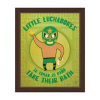 'Little Luchadores Take Their Bath' Graphic Wall Art with Espresso Frame